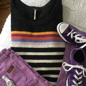Free People Colorful Striped Crewneck EUC